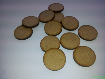 Pack of 10 – 32mm round – no slot MDF wooden bases